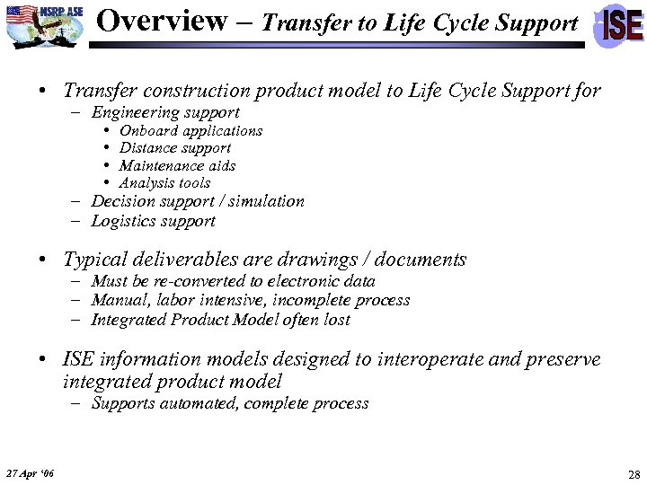 Overview – Transfer to Life Cycle Support • Transfer construction product model to Life