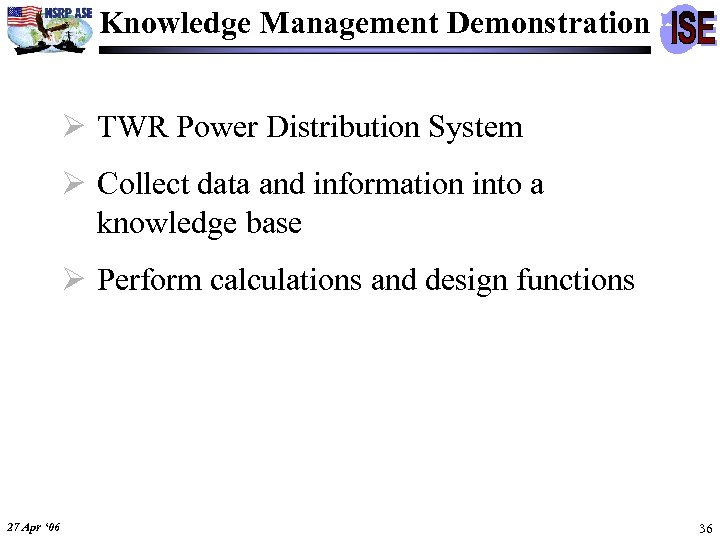 Knowledge Management Demonstration Ø TWR Power Distribution System Ø Collect data and information into