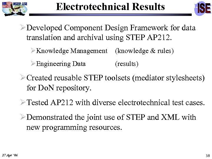 Electrotechnical Results ØDeveloped Component Design Framework for data translation and archival using STEP AP