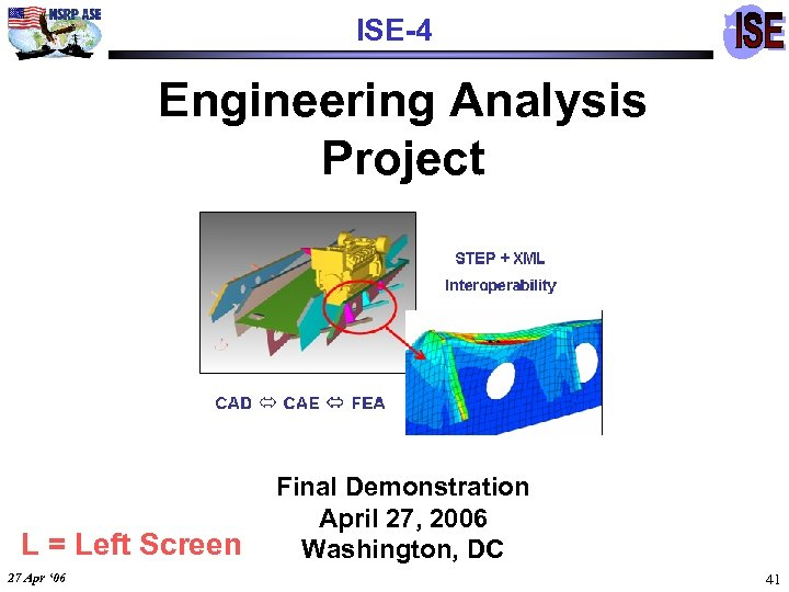 ISE-4 Engineering Analysis Project L = Left Screen 27 Apr ' 06 Final Demonstration