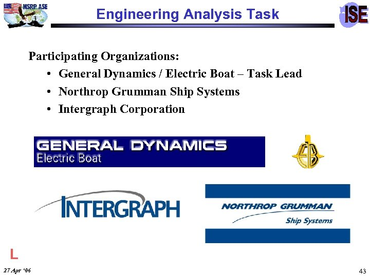 Engineering Analysis Task Participating Organizations: • General Dynamics / Electric Boat – Task Lead