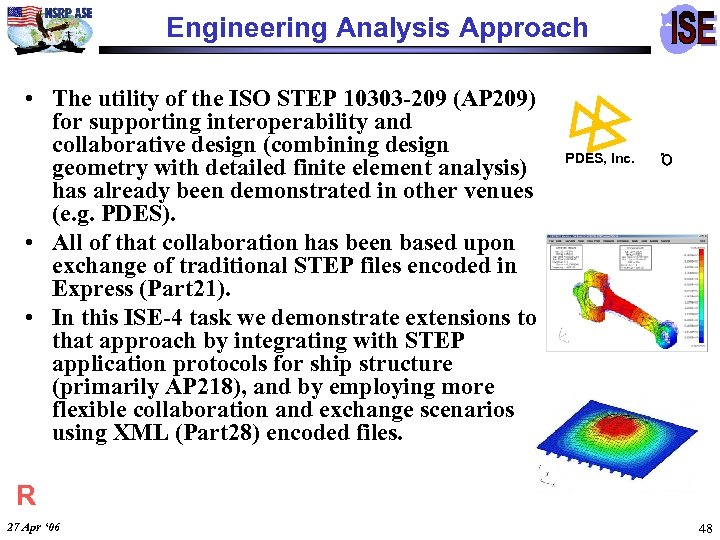 Engineering Analysis Approach • The utility of the ISO STEP 10303 -209 (AP 209)