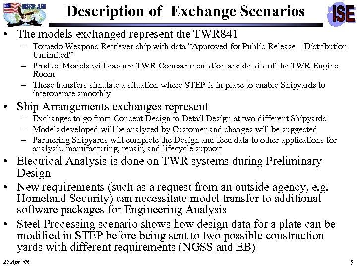 Description of Exchange Scenarios • The models exchanged represent the TWR 841 – Torpedo