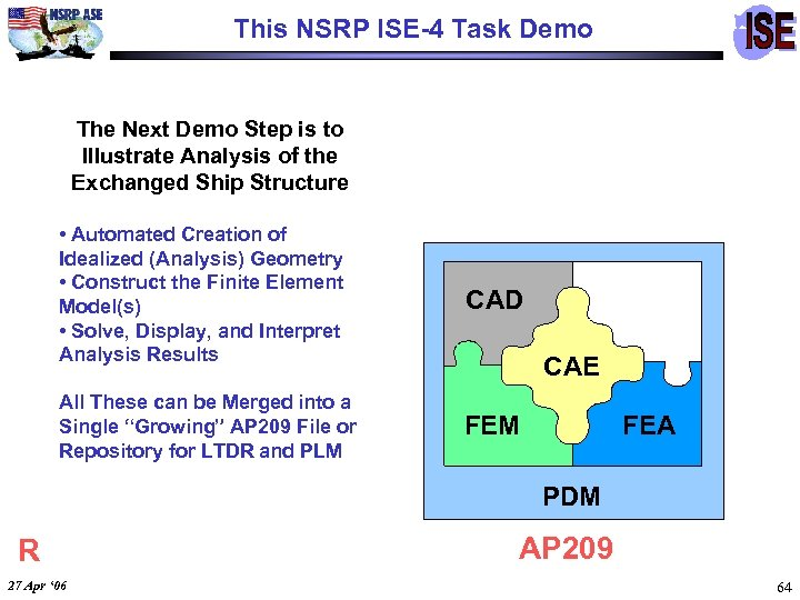 This NSRP ISE-4 Task Demo The Next Demo Step is to Illustrate Analysis of