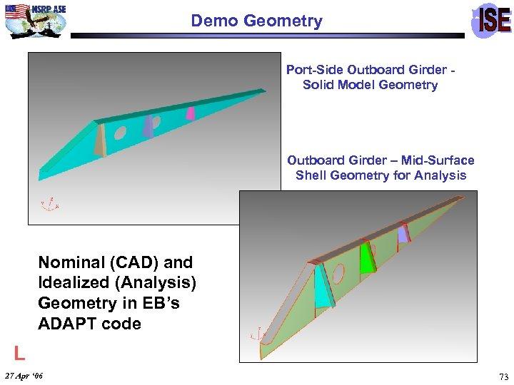 Demo Geometry Port-Side Outboard Girder Solid Model Geometry Outboard Girder – Mid-Surface Shell Geometry
