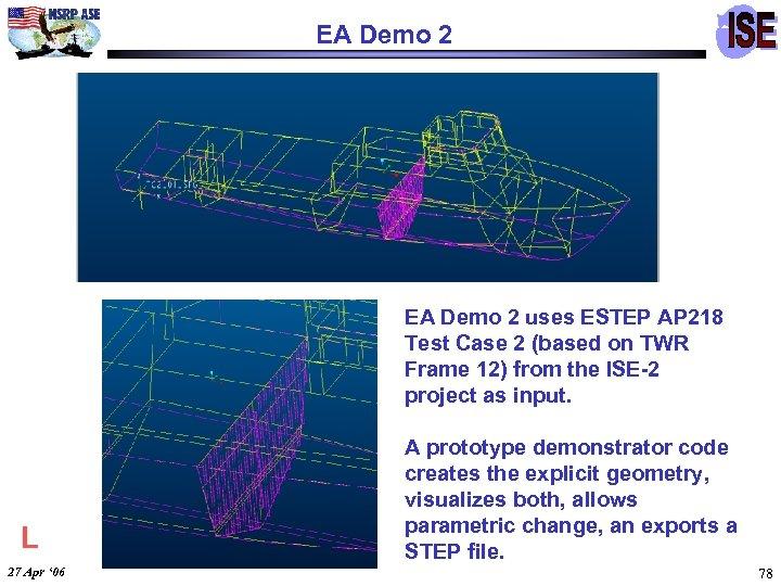 EA Demo 2 uses ESTEP AP 218 Test Case 2 (based on TWR Frame