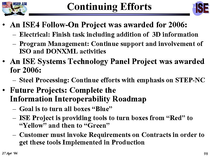 Continuing Efforts • An ISE 4 Follow-On Project was awarded for 2006: – Electrical: