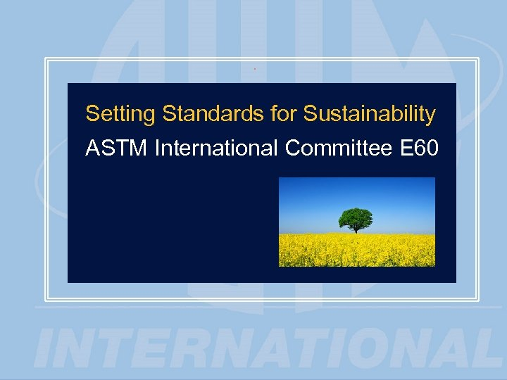 1 Setting Standards for Sustainability ASTM International Committee E 60