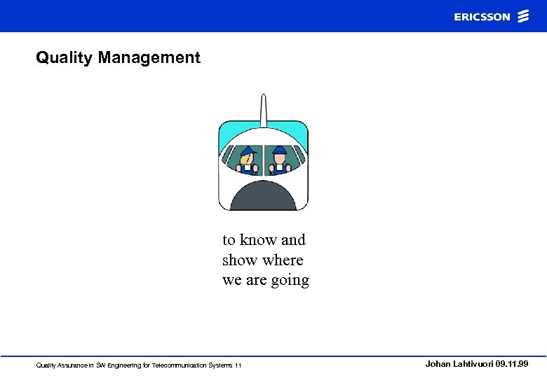 Quality Management to know and show where we are going Quality Assurance in SW
