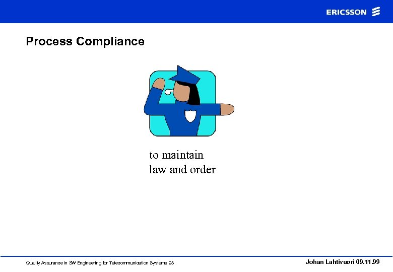 Process Compliance to maintain law and order Quality Assurance in SW Engineering for Telecommunication