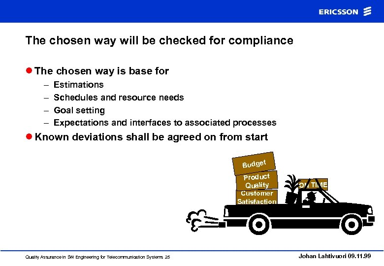 The chosen way will be checked for compliance l The chosen way is base