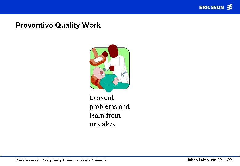 Preventive Quality Work to avoid problems and learn from mistakes Quality Assurance in SW