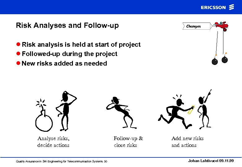 Risk Analyses and Follow-up Changes l Risk analysis is held at start of project