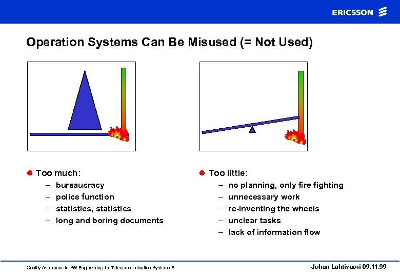 Operation Systems Can Be Misused (= Not Used) l Too much: – – bureaucracy