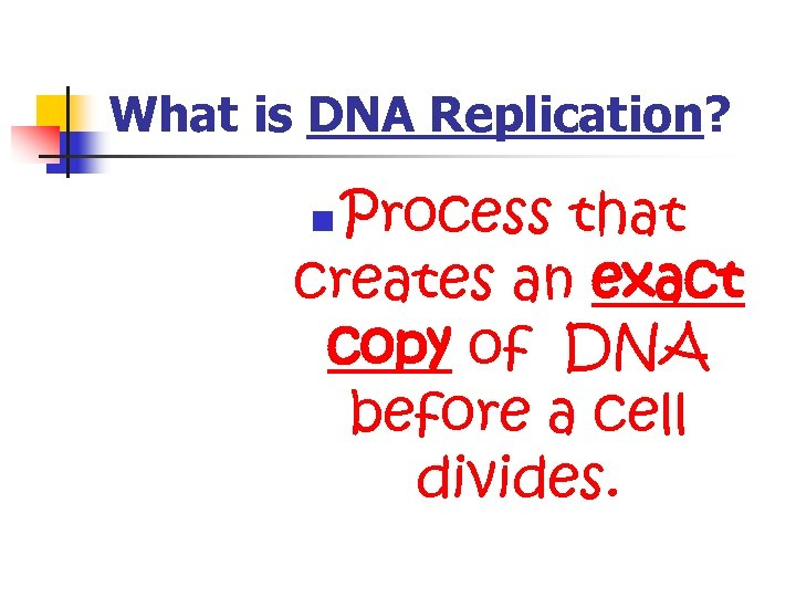What is DNA Replication? Process that creates an exact copy of DNA before a