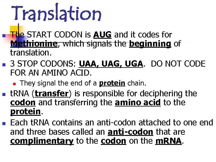 Translation n n The START CODON is AUG and it codes for Methionine, which