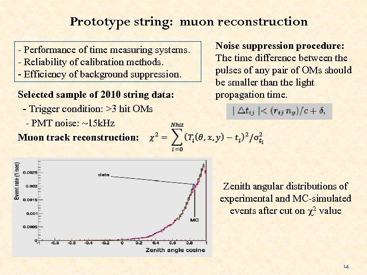Prototype string: muon reconstruction - Performance of time measuring systems. - Reliability of calibration