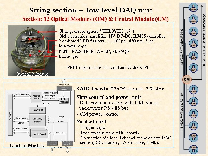 String section – low level DAQ unit Section: 12 Optical Modules (OM) & Central