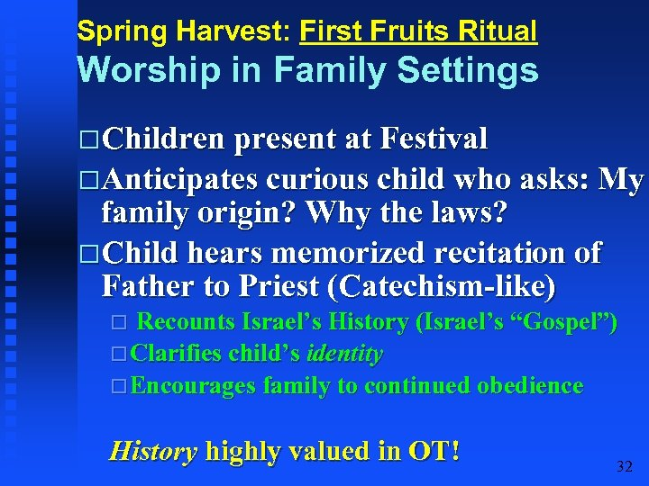 Spring Harvest: First Fruits Ritual Worship in Family Settings Children present at Festival Anticipates