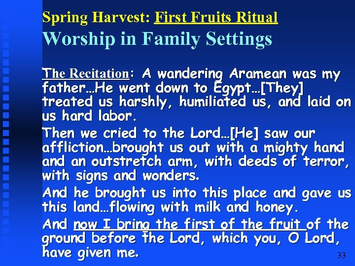 Spring Harvest: First Fruits Ritual Worship in Family Settings The Recitation: A wandering Aramean