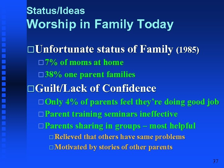 Status/Ideas Worship in Family Today Unfortunate status of Family (1985) 7% of moms at