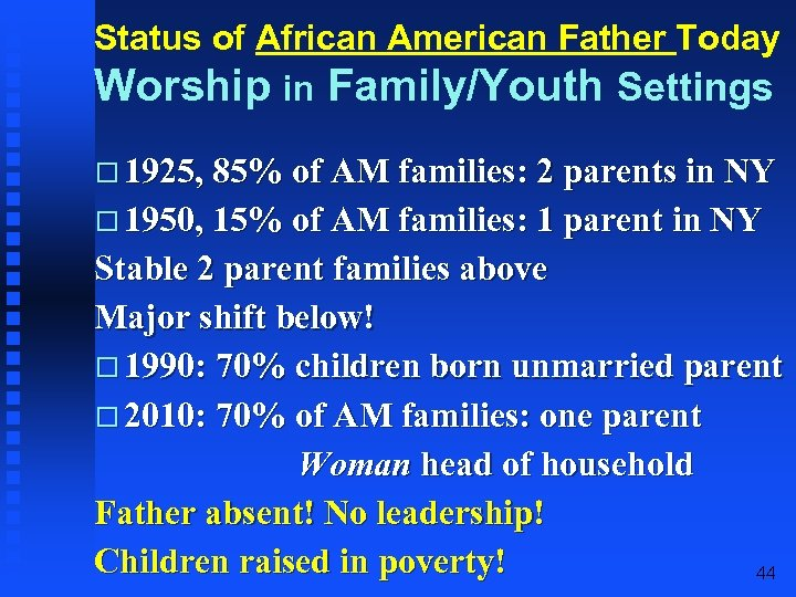 Status of African American Father Today Worship in Family/Youth Settings 1925, 85% of AM