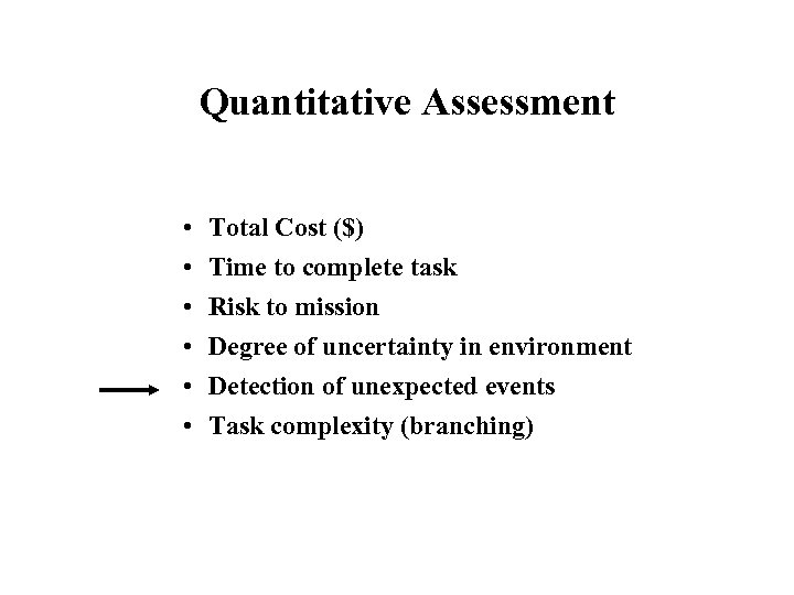 Quantitative Assessment • • • Total Cost ($) Time to complete task Risk to