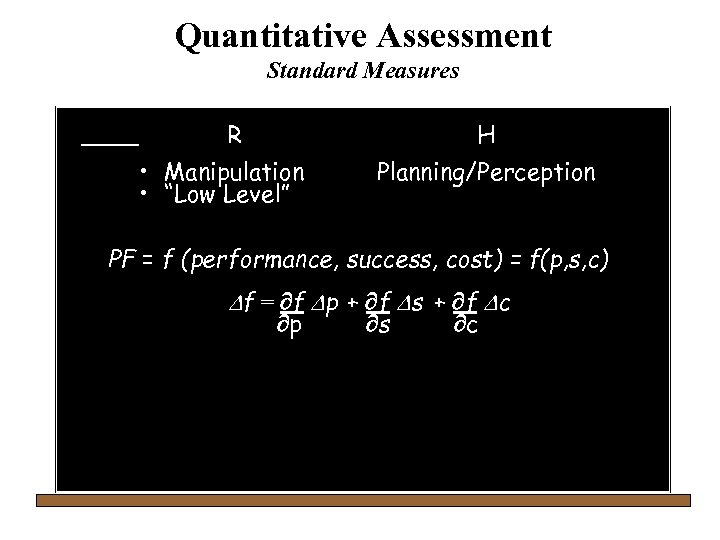 "Quantitative Assessment Standard Measures R H • Manipulation • ""Low Level"" Planning/Perception PF ="