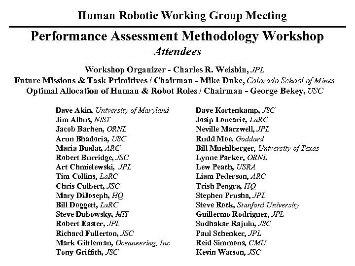 Human Robotic Working Group Meeting Performance Assessment Methodology Workshop Attendees Workshop Organizer - Charles