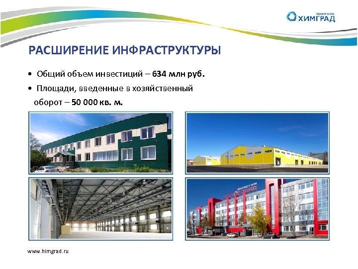 РАСШИРЕНИЕ ИНФРАСТРУКТУРЫ • Общий объем инвестиций – 634 млн руб. • Площади, введенные в