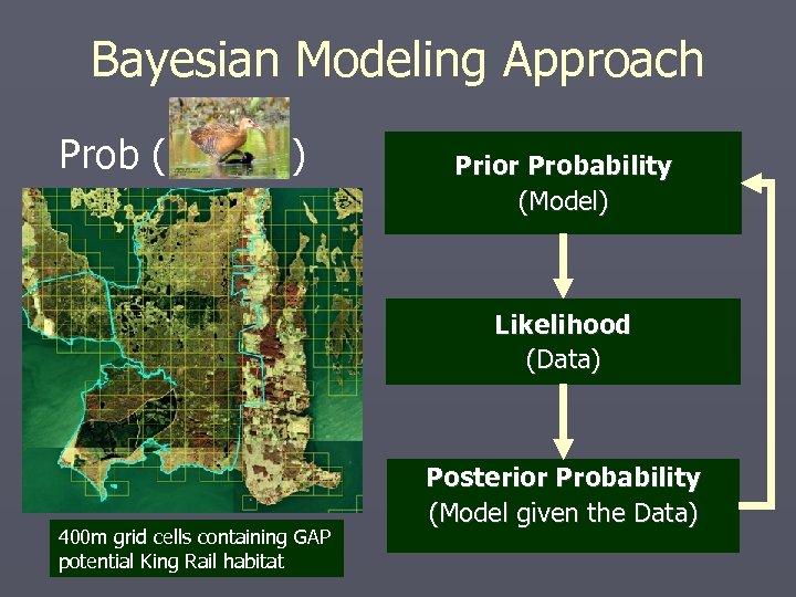 Bayesian Modeling Approach Prob ( ) Prior Probability (Model) Likelihood (Data) 400 m grid