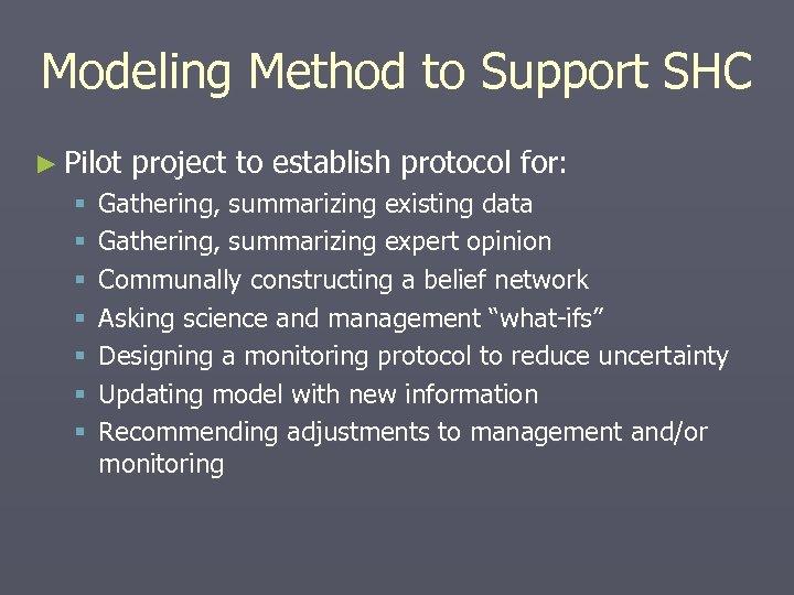 Modeling Method to Support SHC ► Pilot § § § § project to establish