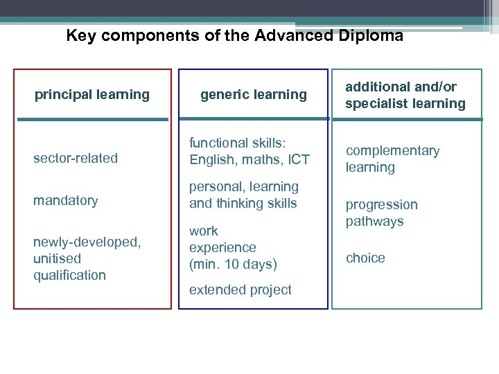 Key components of the Advanced Diploma principal learning generic learning sector-related functional skills: English,