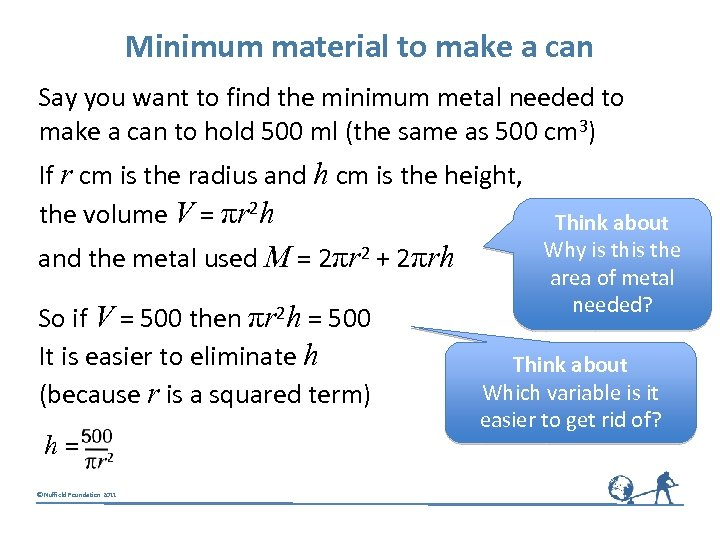 Minimum material to make a can Say you want to find the minimum metal