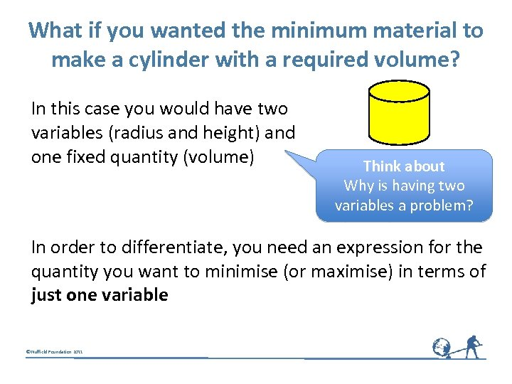 What if you wanted the minimum material to make a cylinder with a required