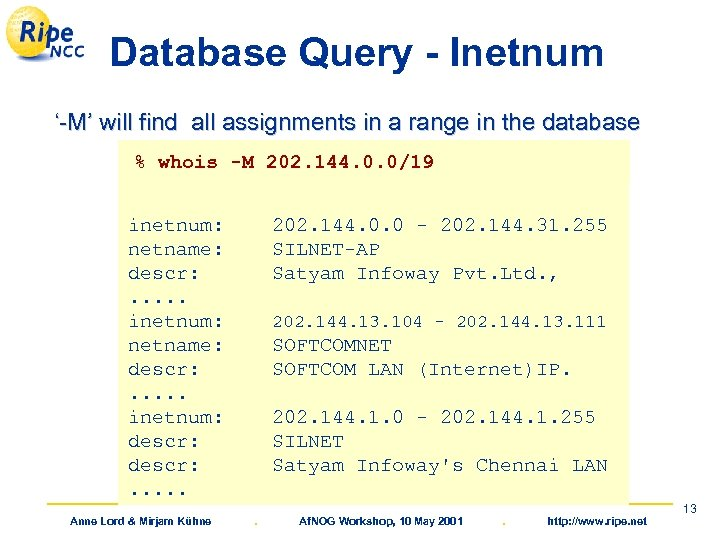 Database Query - Inetnum '-M' will find all assignments in a range in the