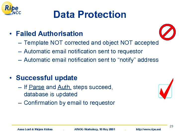 Data Protection • Failed Authorisation – Template NOT corrected and object NOT accepted –
