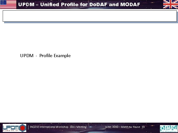 UPDM – Unified Profile for Do. DAF and MODAF UPDM - Profile Example INCOSE