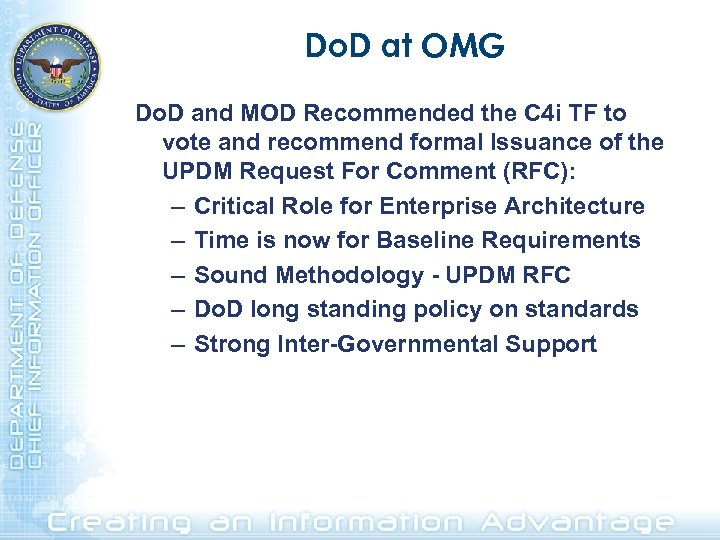 Do. D at OMG Do. D and MOD Recommended the C 4 i TF