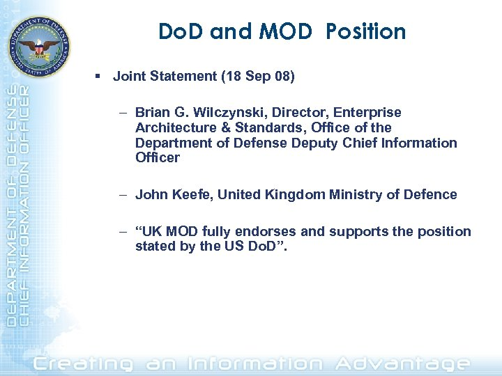 Do. D and MOD Position § Joint Statement (18 Sep 08) – Brian G.
