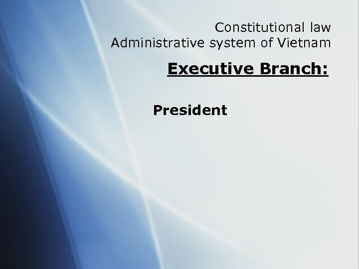 Constitutional law Administrative system of Vietnam Executive Branch: President
