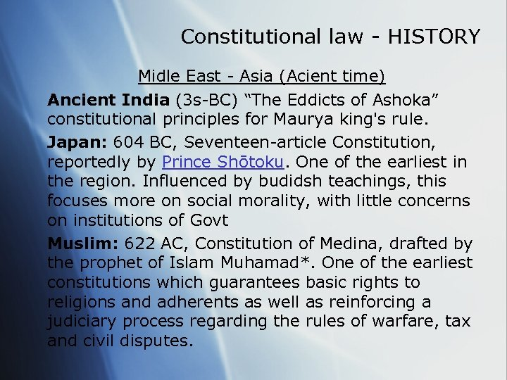 Constitutional law - HISTORY Midle East - Asia (Acient time) Ancient India (3 s-BC)