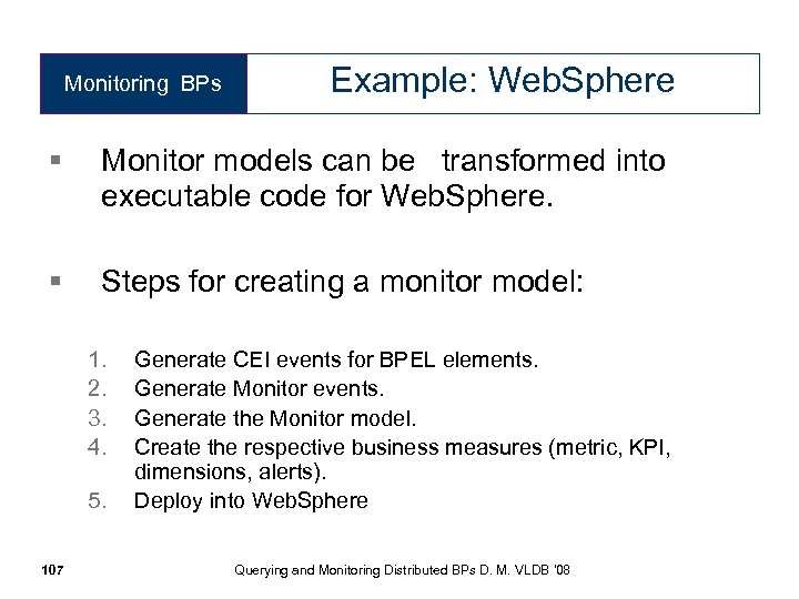 Monitoring BPs Example: Web. Sphere § Monitor models can be transformed into executable code