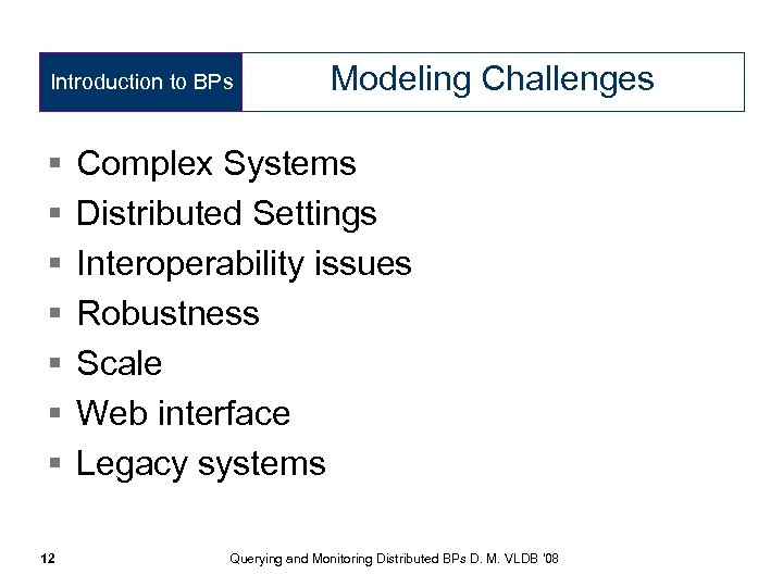 Introduction to BPs § § § § 12 Modeling Challenges Complex Systems Distributed Settings