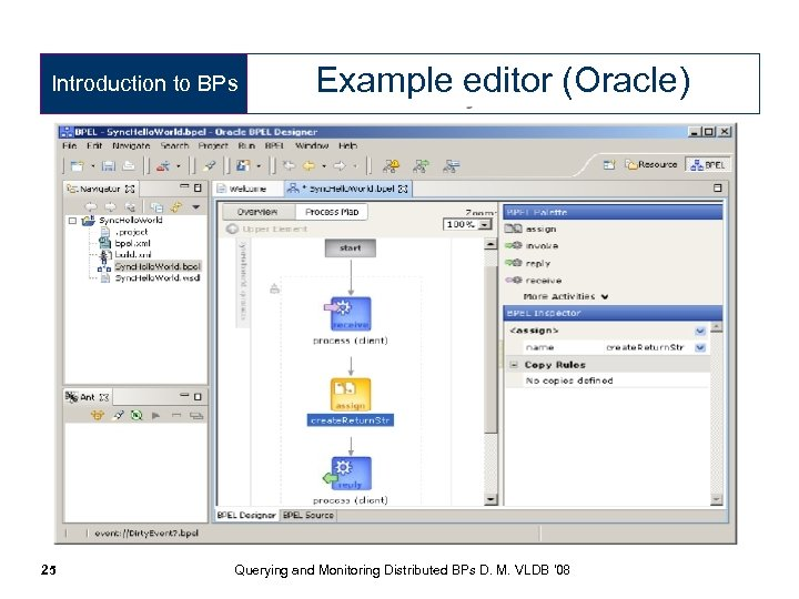 Introduction to BPs 25 Example editor (Oracle) Querying and Monitoring Distributed BPs D. M.