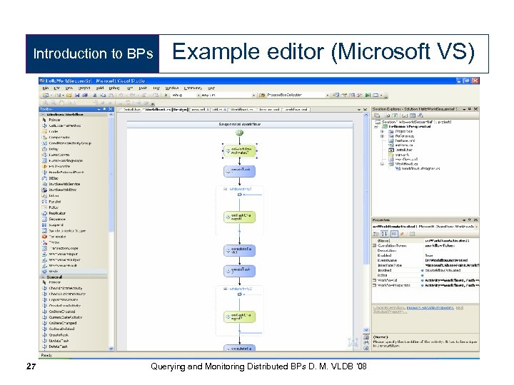 Introduction to BPs 27 Example editor (Microsoft VS) Querying and Monitoring Distributed BPs D.