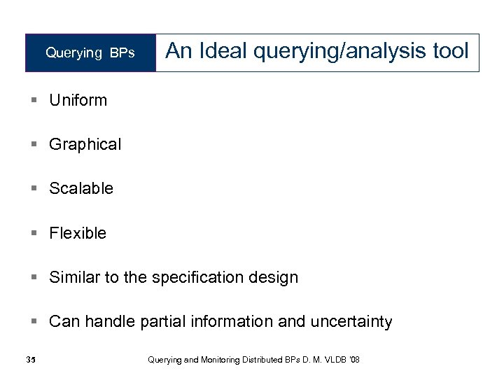 Querying BPs An Ideal querying/analysis tool § Uniform § Graphical § Scalable § Flexible