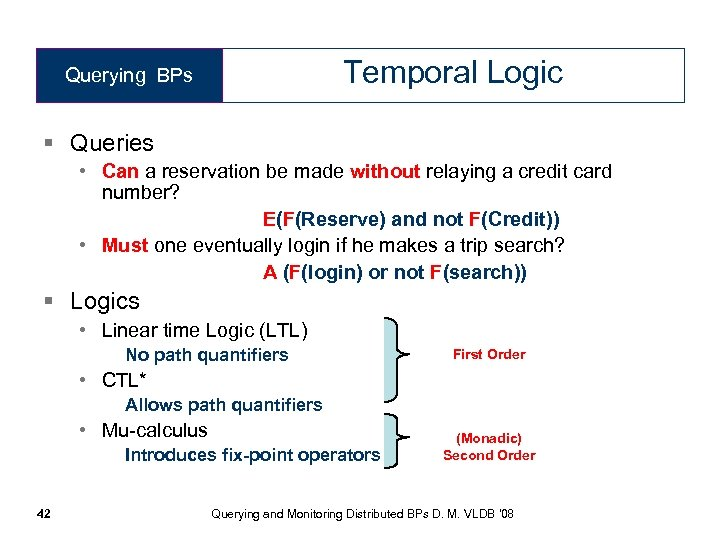 Temporal Logic Querying BPs § Queries • Can a reservation be made without relaying