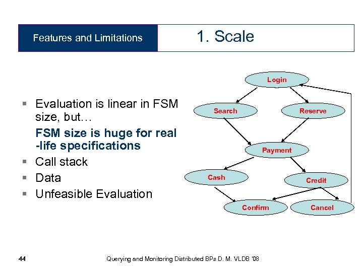 Features and Limitations 1. Scale Login § Evaluation is linear in FSM size, but…
