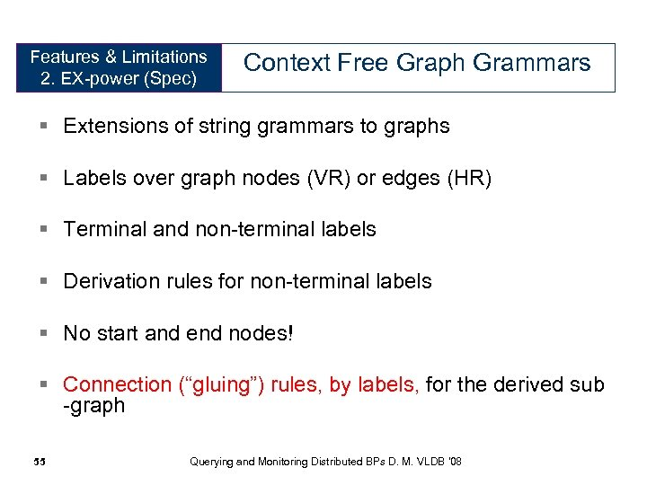 Features & Limitations 2. EX-power (Spec) Context Free Graph Grammars § Extensions of string